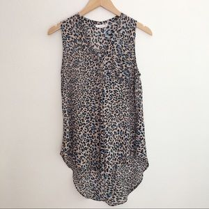 Lush sleeveless blue leopard pattern blouse XS